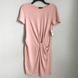 New Dee Elly Pink Ruched Sweater Dress